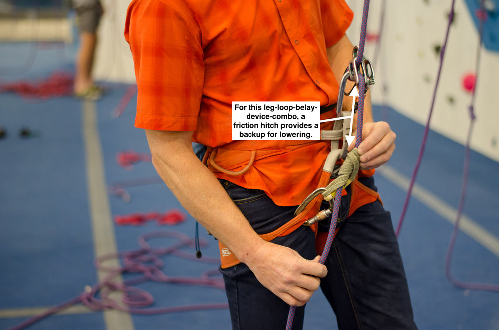 While a friction hitch can provide an adequate backup for lowering, it takes practice to tie this hitch while holding a climber,  and it won't work on every harness' leg loop design.