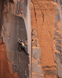 Craig Gorder climbing in Indian Creek Canyon, Utah.