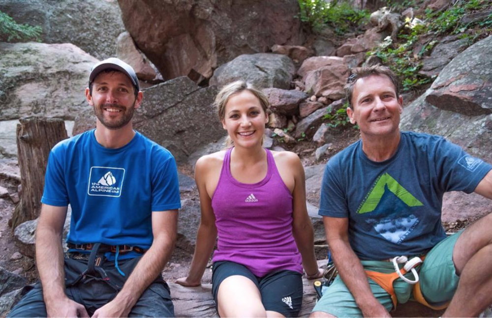 Our CEO Phil Powers working & climbing with Dan Hammond and Sasha DiGiulian. Jason Gebauer photo.