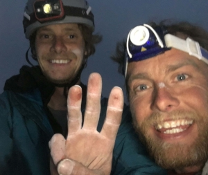 Stanhope (left) and Leo Houlding on top of South Howser Tower, 23 hours 36 minutes after starting.