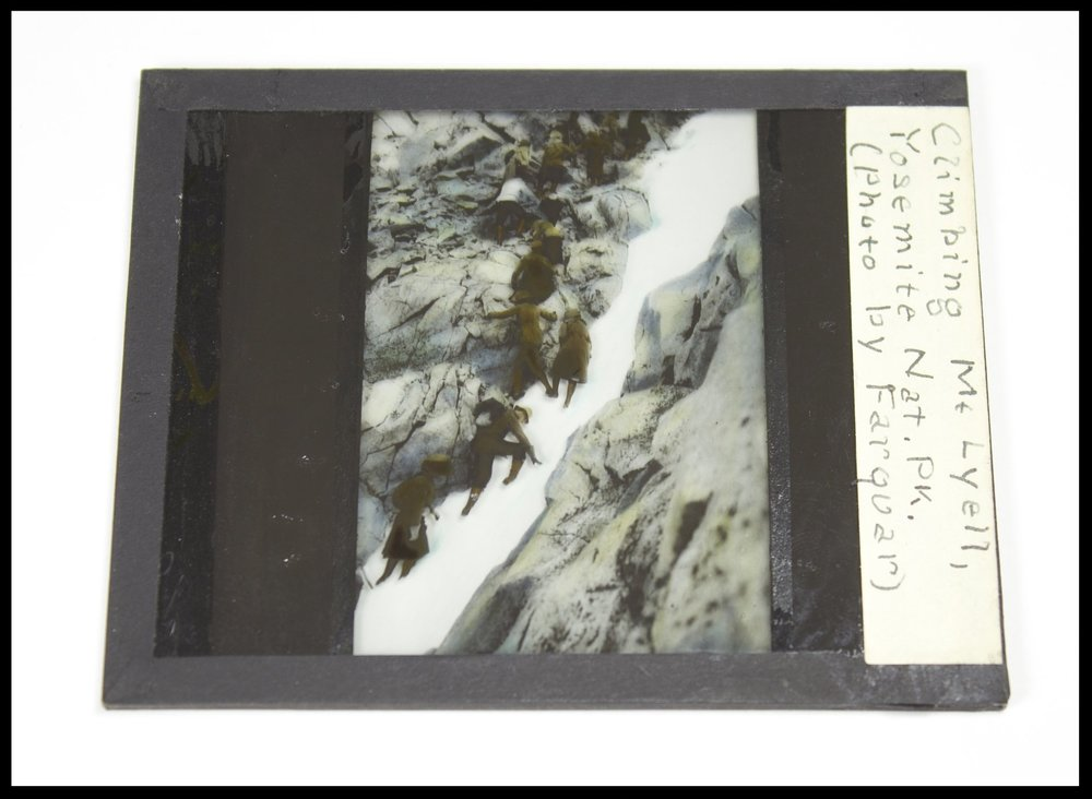 A Lantern Slide Close-Up. Caption reads: Climbing Mt. Lyell, Yosemite Nat. Pk. (Photo by Farquar). This slide came from Francis P. Farquhar. It is probably from the 1910-20s.