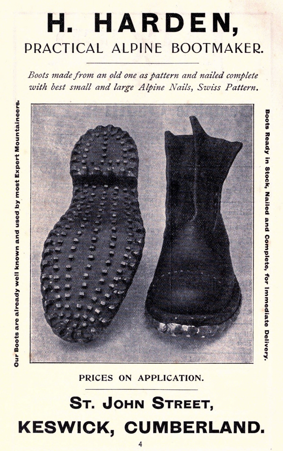 Mountaineering boots circa 1911.   By H. Harden - Jones, Owen Glynne Rock-climbing in the English Lake District, 1911, Public Domain, https://commons.wikimedia.org/w/index.php?curid=9433840