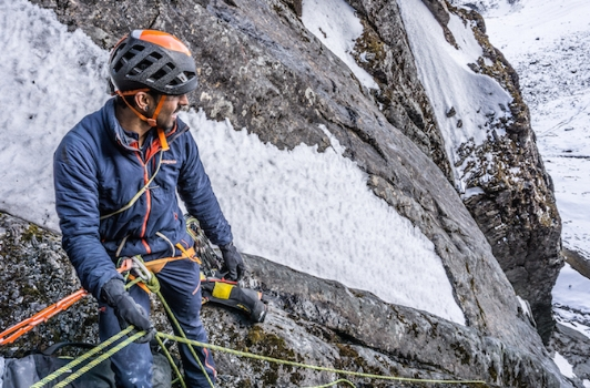 Belaying on a new route in Nepal. Photo by Zach Lovell.