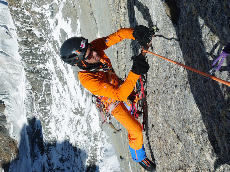 Siegrist cleaning a stretch of hooking during the six-day ascent of Cerro Kishtwar's northwest face.