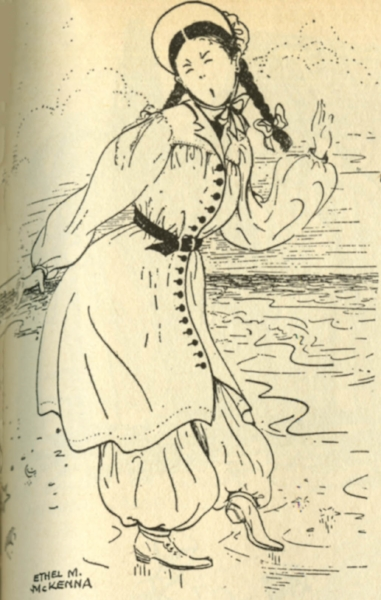 An illustration of a lady climber of 1877 in her climbing garb of choice - her bathing suit.  Part of article entitled Fashion on the Peaks: 1876 - 1935, published in  Appalachia Magazine  Vol. 20 1934-1935, pages 372-379.