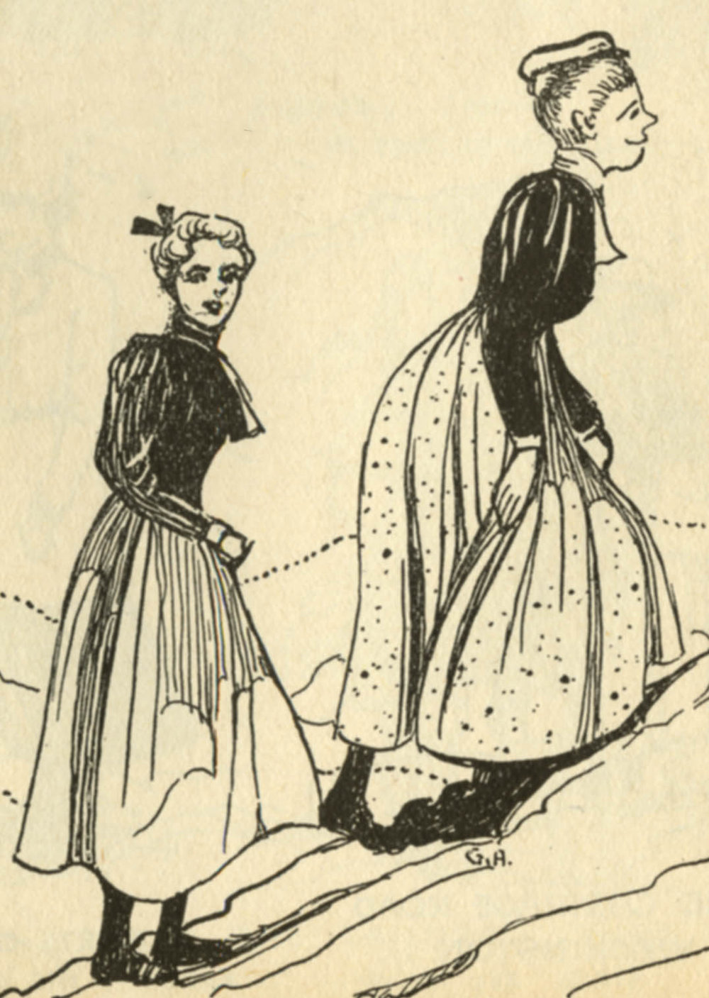 Illustration of women climbing Mount Marcy in 1898