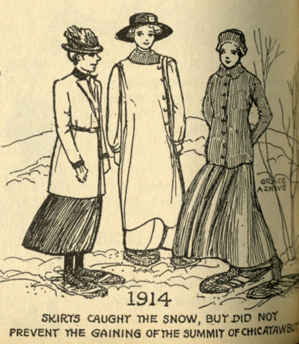 Illustration of women summiting in 1914