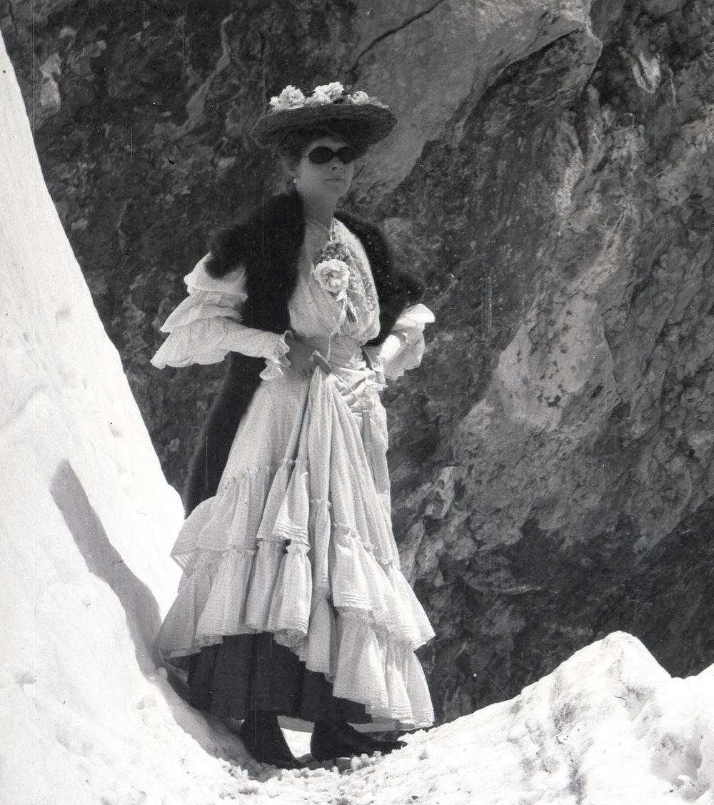 A woman climbing in the Alps circa 1911