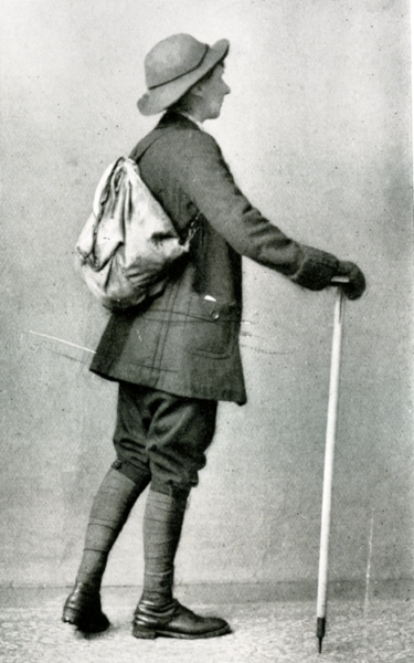 "A ""climbing costume for women"" pictured in Mountaineering Art, 1920 by Harold Raeburn (section on women's climbing and climbing apparel written by Ruth Raeburn). The model sports a double breasted wool jacket, knickerbockers and puttees (the leg wraps), as well as boots, ruck sack and ice axe."