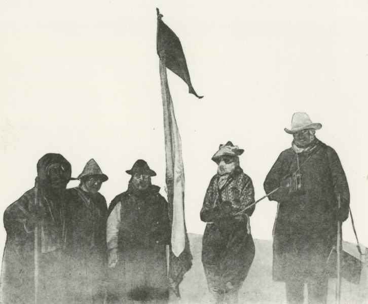 Annie Peck (second from the right) is photographed in knickerbockers on the first ascent of Coropuna in the Andes in 1911. She was in her 60s.