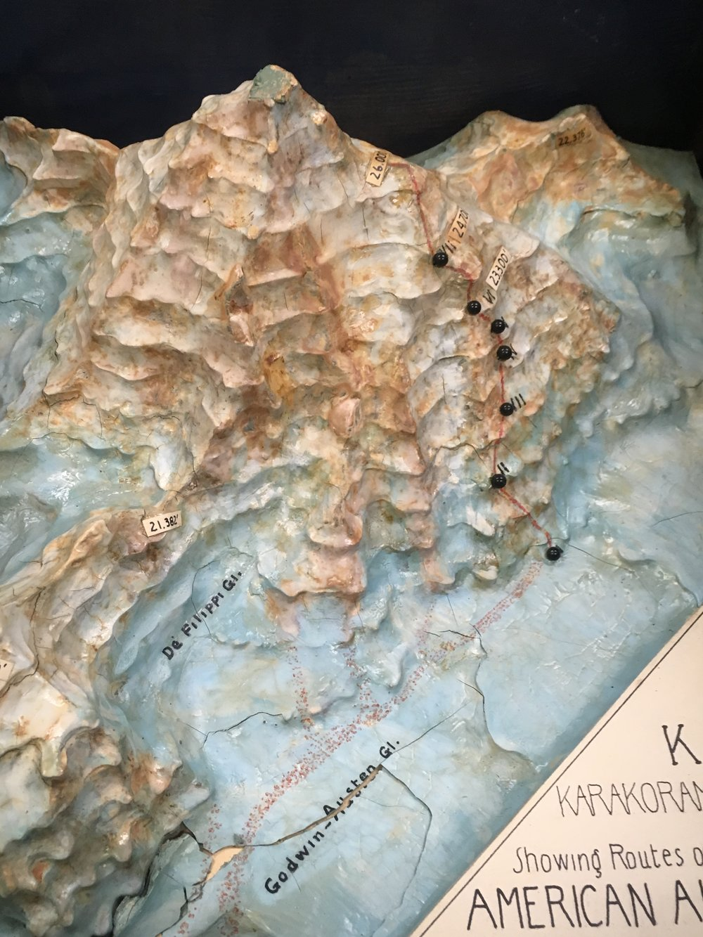 K2 diorama indicating the route taken on the Abruzzi Ridge