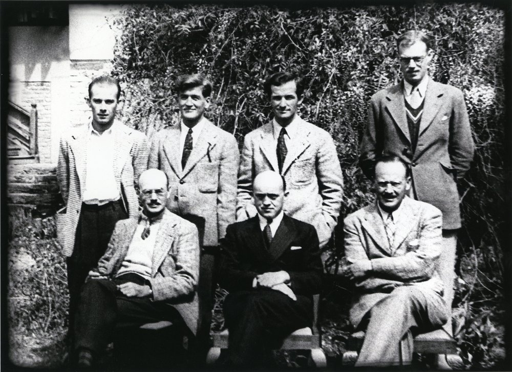 1939 Expedition members. Left to right, standing: George Sheldon, Chappell Cranmer, Jack Durrance, George Trench; seated: Eaton Cromwell, Fritz Wiessner, Dudley Wolfe.  Jack Durrance Collection