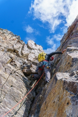 Jim Donini leading on Cerro Chueco. Photo by Tad McCrea