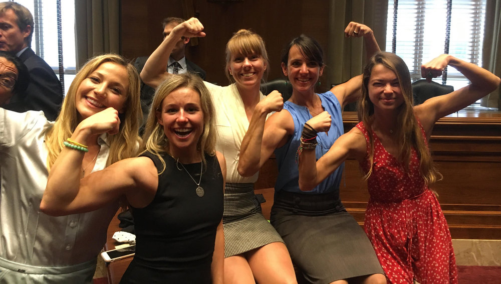 Some of the climbing representatives display their power after a successful day on Capitol Hill. From left to right are Sasha DiGiulian, Caroline Gleich, Libby Sauter, Quinn Brett and Katie Boue. Photo: Derek Franz.