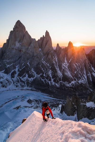 Leclerc on Torre Egger during the first free and integral ascent of Titanic, shortly after his solo ascent. Photo by Austin Siadak.