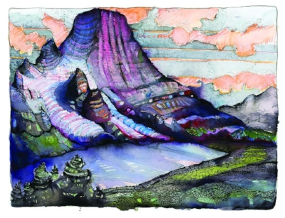 "The Emperor Face of Mt. Robson rises about 7,500 feet above Berg Lake. This original artwork was created by Craig Muderlak to illustrate Marc-André Leclerc's article ""Two Climbs Alone"" in AAJ 2017."