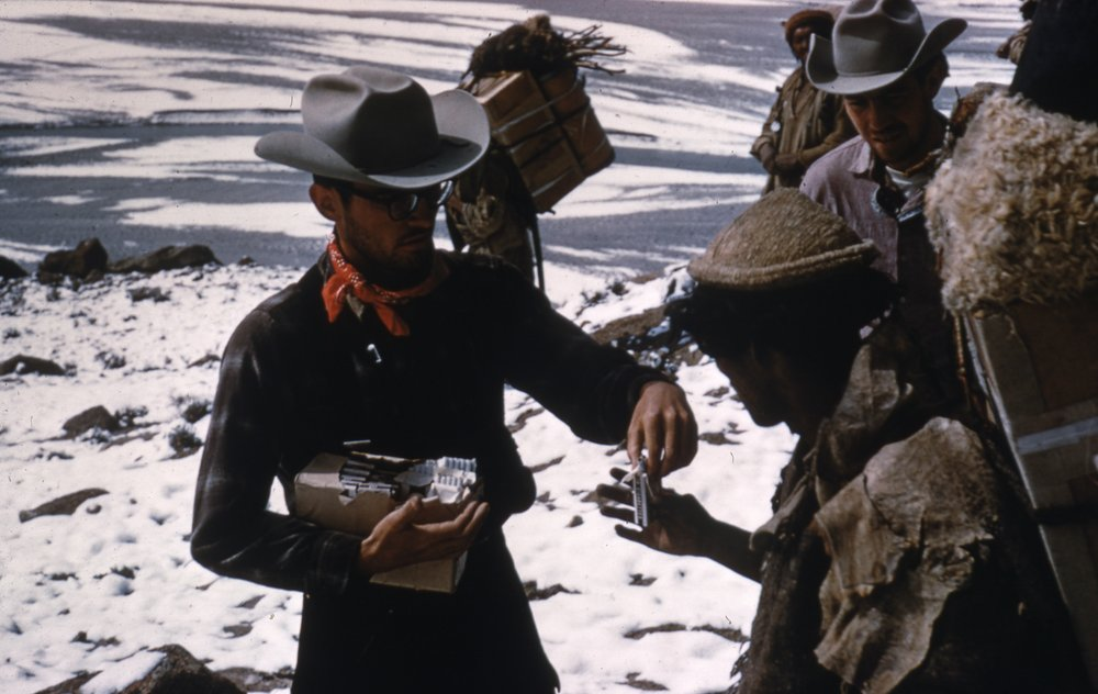 The expedition had too few cigarettes to meet the required amount for the porters. A crisis was averted by trading their Camel cigarettes for local brands at a rate of 2 to 1.