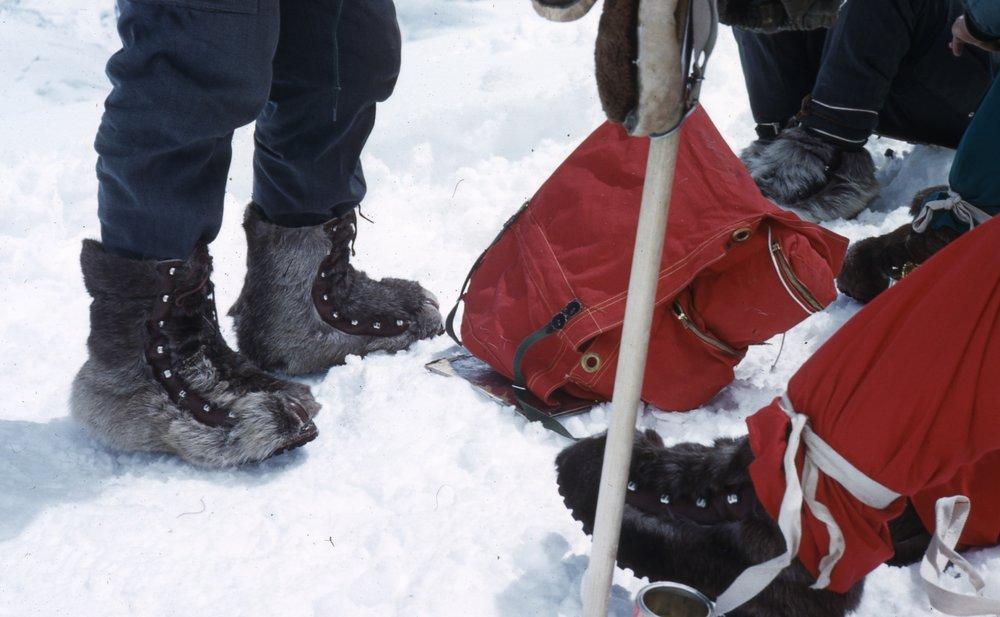 Reindeer hide boots.