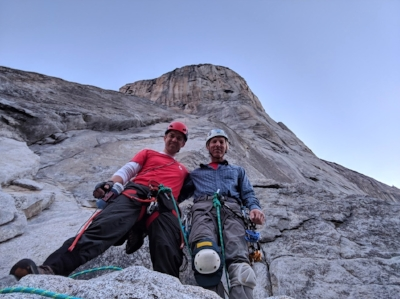 Hans Florine (right) and partner Abe Shreve low on the Nose route of El Capitan.