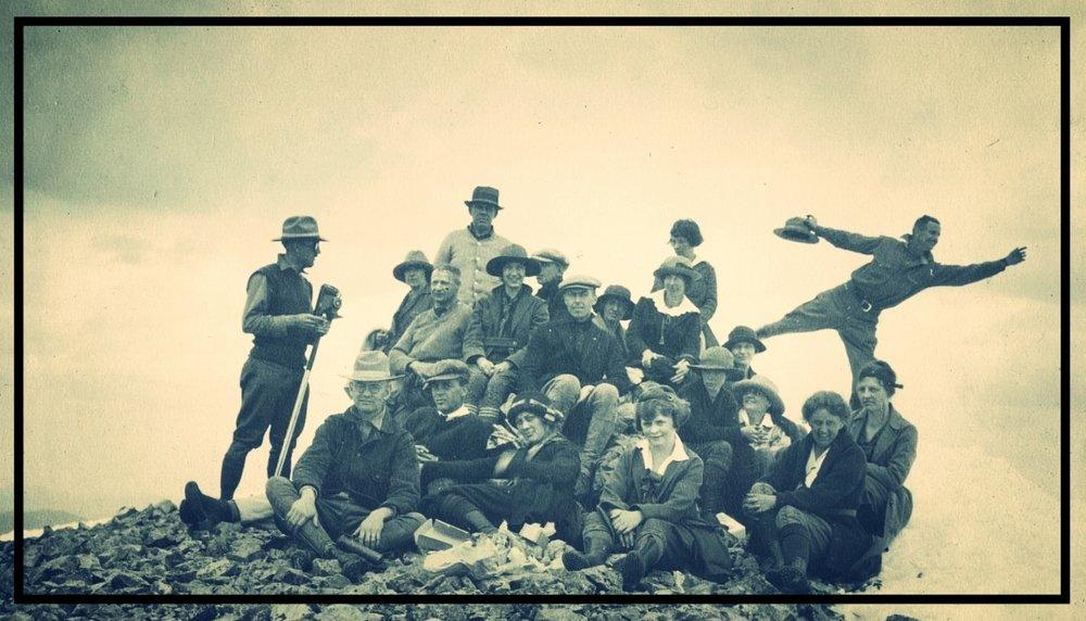 Atop Mount Audubon, circa 1916-18.