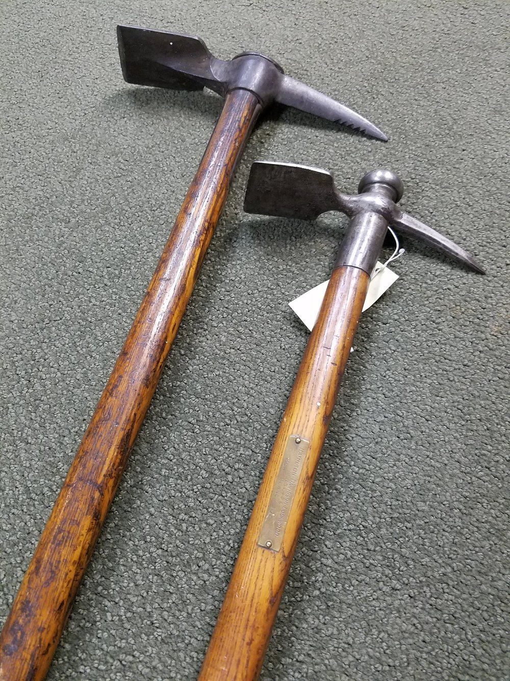 """Hamilton Davidson Lockwood's ice axe - inscribed on the metal plaque is: Mont Blanc 1862"""" This was donated to the AAC archives by Mrs. Lockwood."""