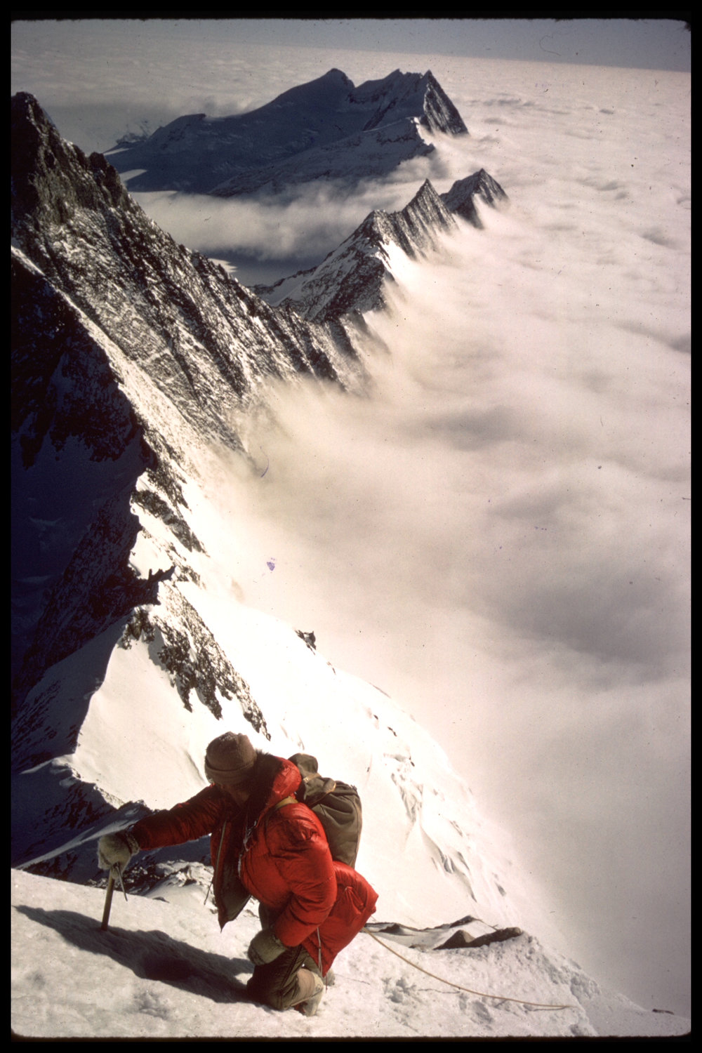 Ice axe being used for climbing