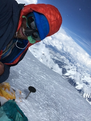 On the summit of Denali, 8 hours 7 minutes after crossing the bergschrund about 8,000 feet below.