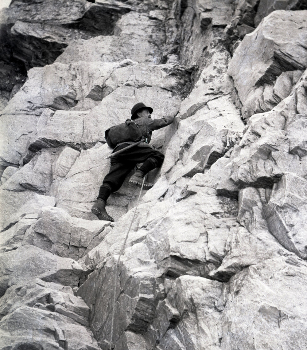 A climber on Mount Sir Donald in Glacier National Park of Canada. Note the use of hobnail boots.