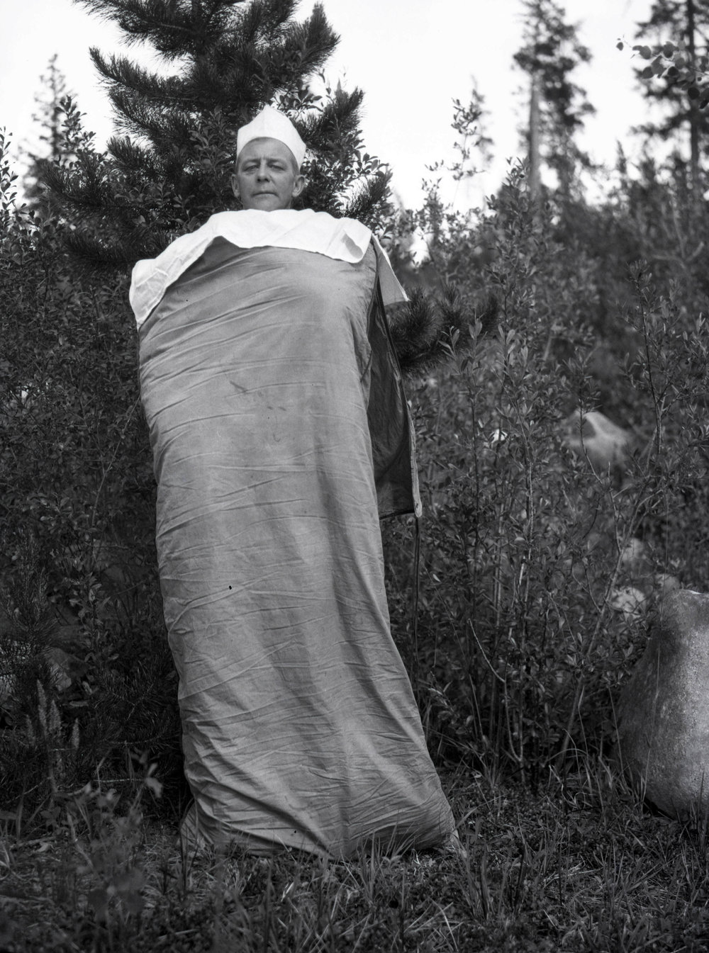 A. J. Gilmour models his sleeping bag