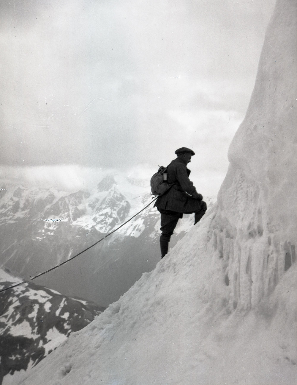 A climber in the Alps