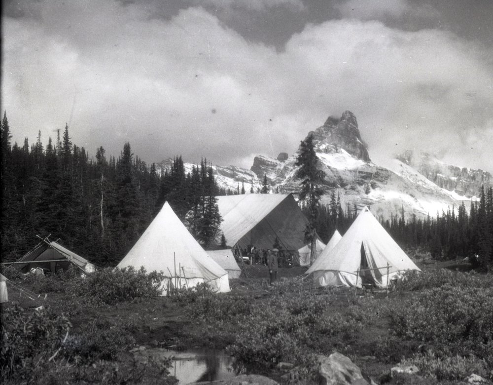 Camp near Cathedral Peak - the large open tent is a mess tent