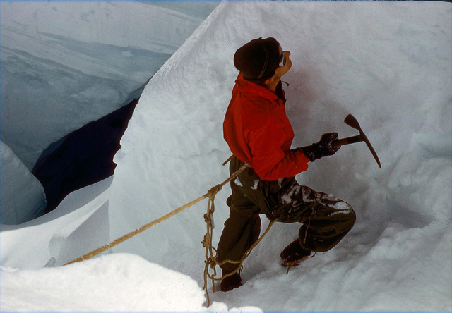 Bill Buckingham finding a route from Intermediate Camp to Base Camp.