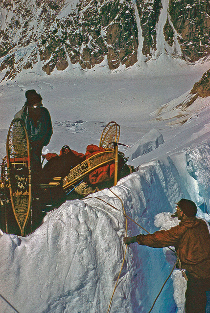 Crossing one of many crevasses en route to Icefall Camp.