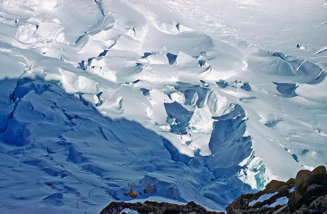 Camp far below in the icefall.