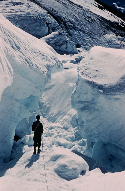 Finding a way through the icefall.