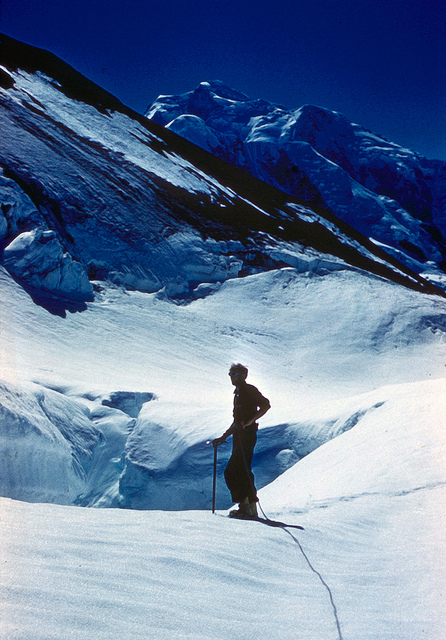 Jake in front of one of hundreds of crevasses in the Icefall.