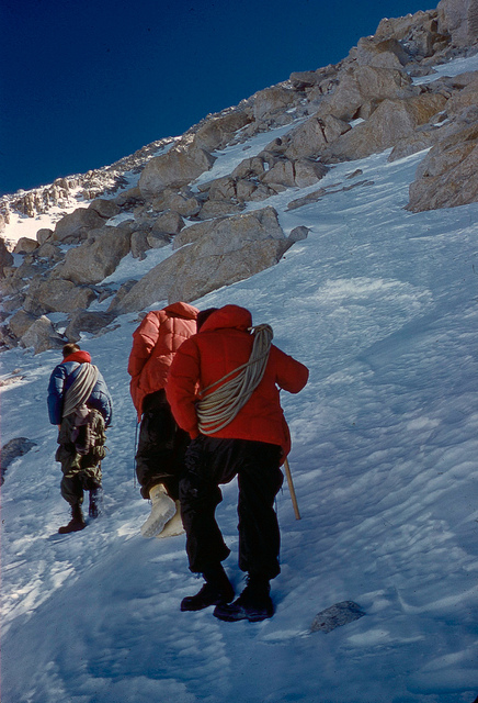 Buck, Jake, and Pete heading to fix ropes in the couloir.
