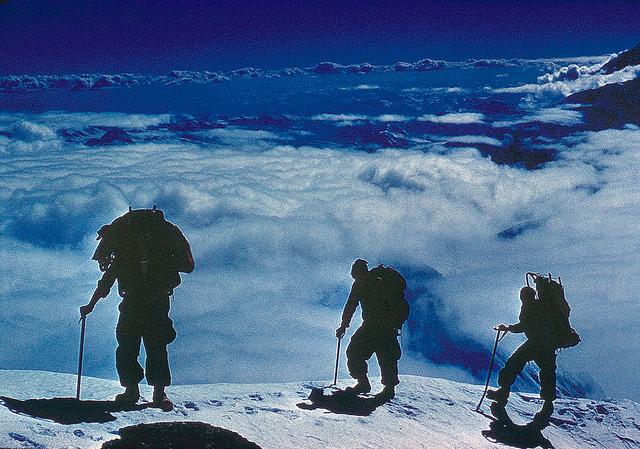 Breaking onto the summit plateau.