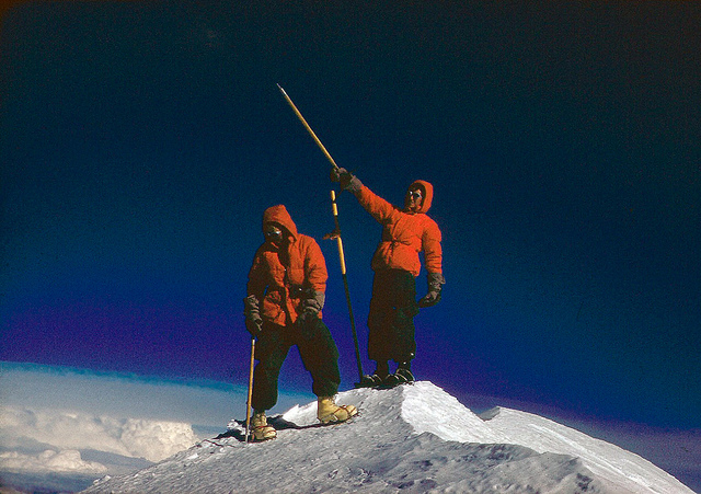 June 19, 1959 Jake and Pete on the summit of Mt. McKinley. Above us, great cumulus caps reared up to 25,000 feet; below, the clouds were at the 18,000 foot level.