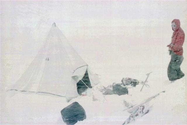 The Logan tent during a snowstorm.