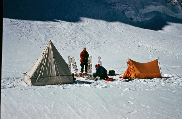 Intermediate Camp, three miles up the glacier.