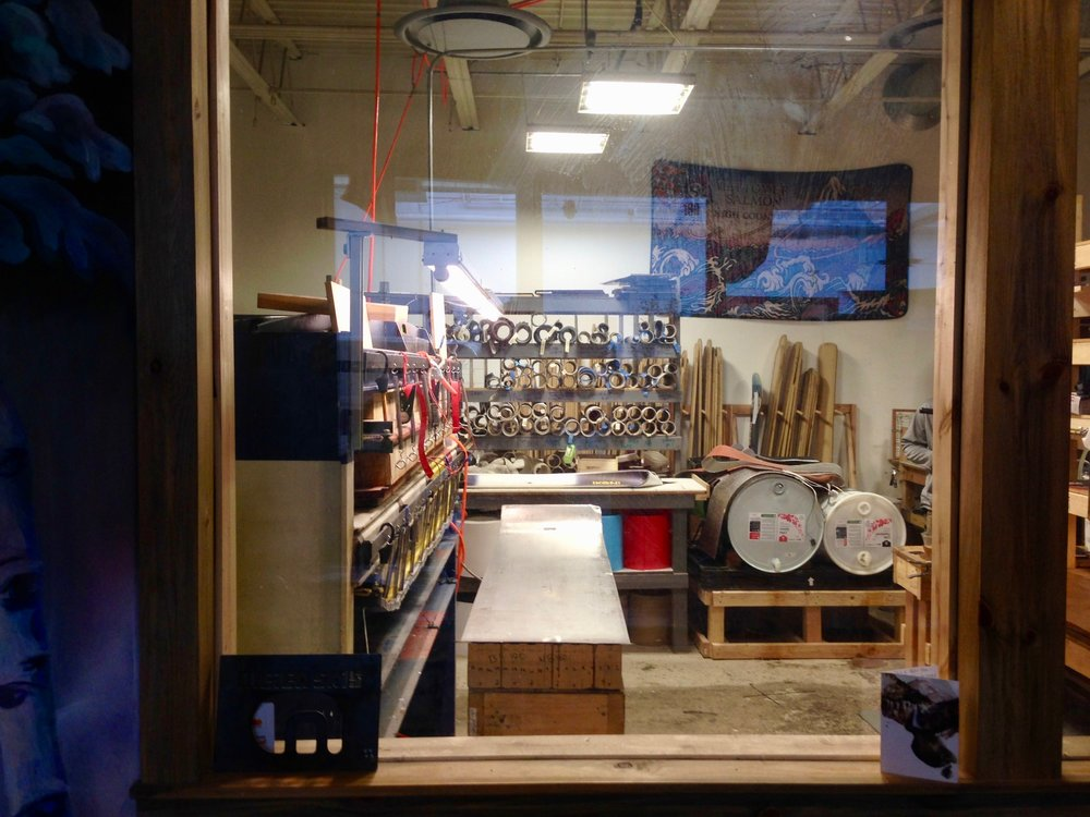 The Meier Skis woodshop. All their wood is sourced from Colorado trees!