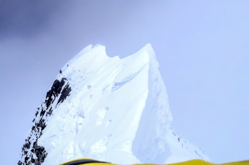 A delicate traverse to the summit of Lupghar Sar West.