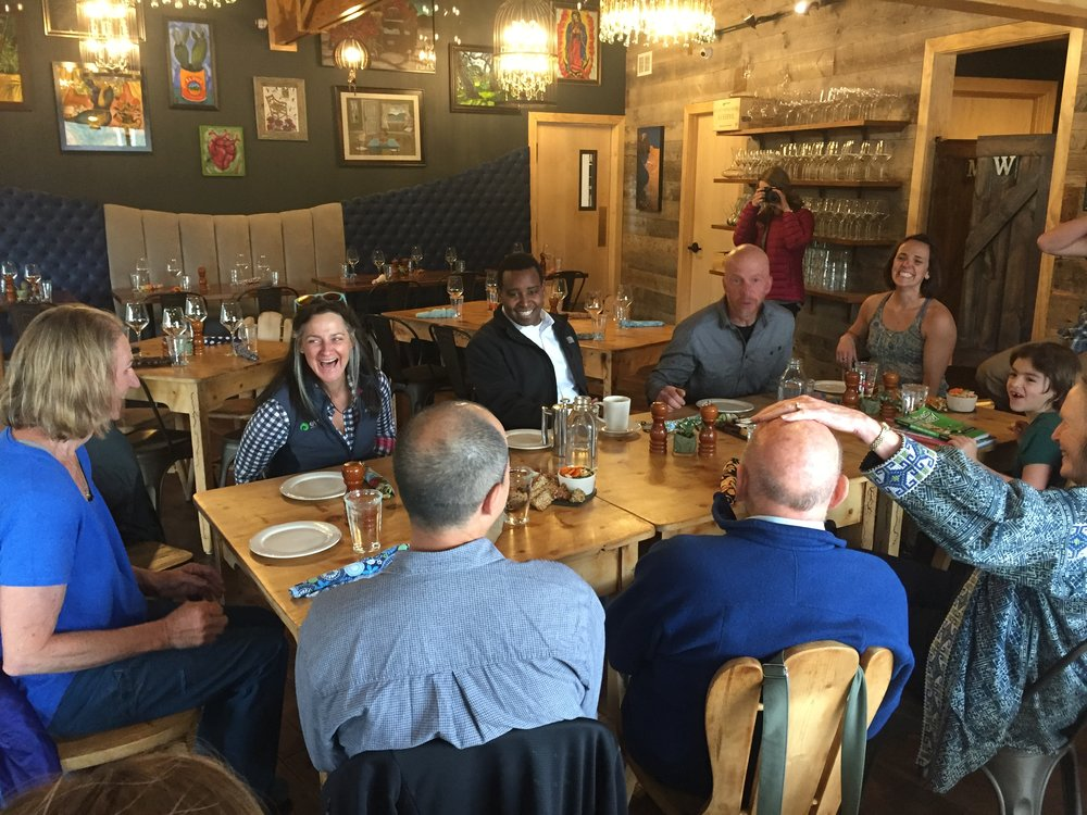 Climbers meeting with Neguse over snacks in Estes Park, CO