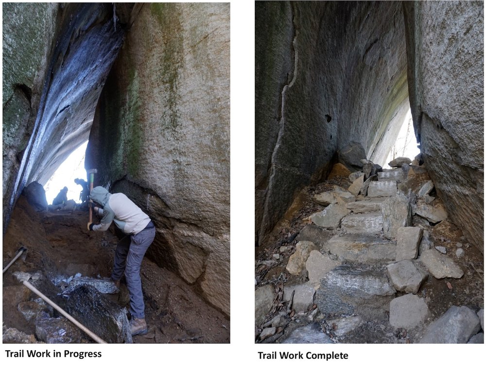 """Volunteers with the Carolina Climbers Coalition work on the Eagle Rock Climber Access Trail (the """"Tunnel Trail"""") within Chimney Rock State Park (2017)."""