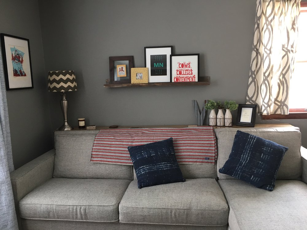 Our Sofa Is The West Elm Henry 2 Piece Chaise Sectional Sofa In Twill,  Gravel. We Love It. I Sewed Shorter Curtains From One Long Panel Of West Elm  Scribble ...