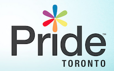 "The logo for Pride Toronto. Dotting the ""i"" in ""Pride"" are thin flower petals, each in one of the rainbow colours."