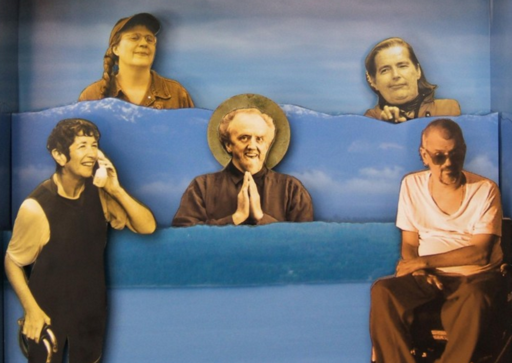 An image from the DVD cover of Shameless with the five featured artists, including documentarian Bonnie Sherr Klein holding a phone with one hand and a cane with the other.