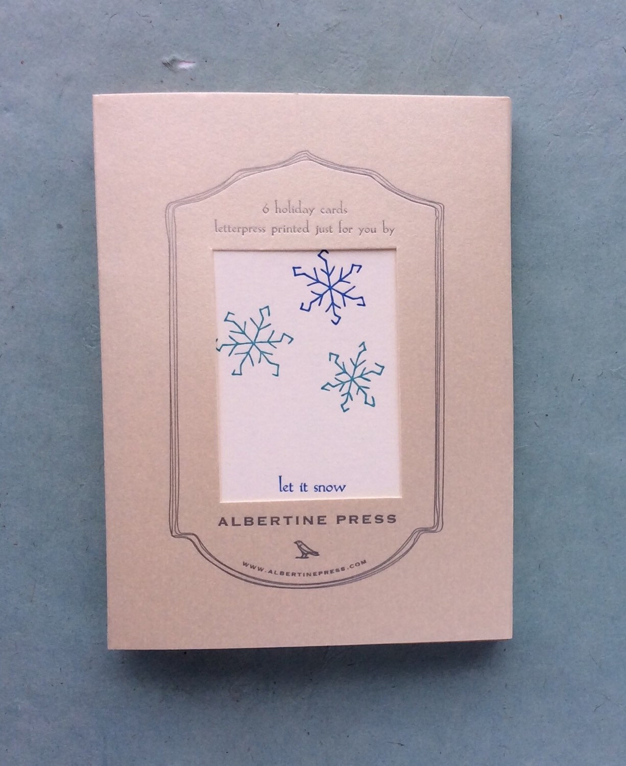 let it snow box of six letterpress holiday cards albertine press