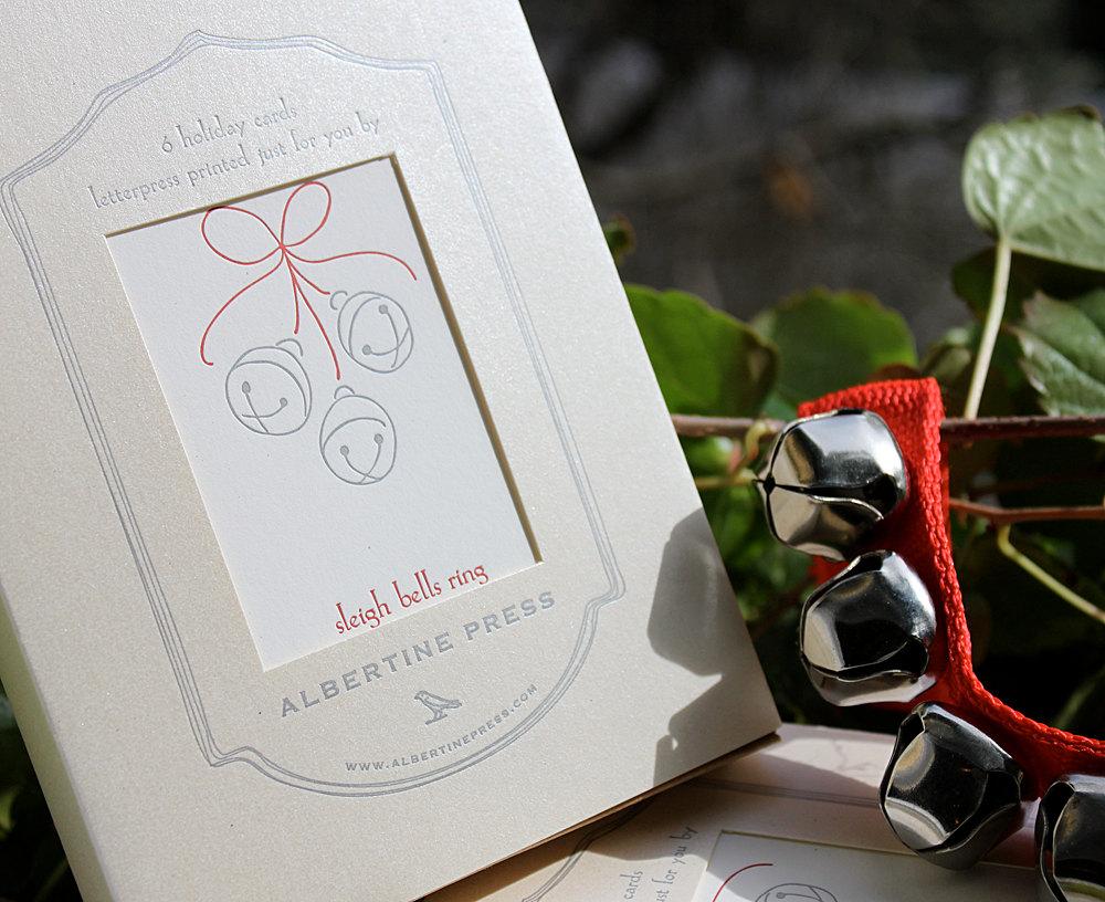 sleigh bells ring box of six letterpress holiday cards - Letterpress Holiday Cards